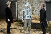 Peter capaldi (the doctor), a mondasian cyberman and john simm (the master) in doctor who season 10