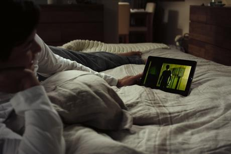 Watching netflix on bed 3x2