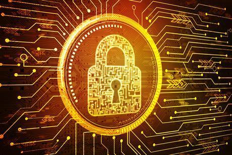 Cyber security lock orange