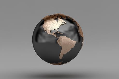 Latin america on globe