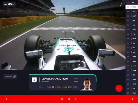 Tablet view: F1 TV's DriverCam