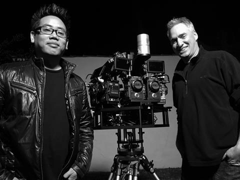 HypeVR Founder Schilowitz (right) and CEO Tonaci Tranwith volumetric camera rig