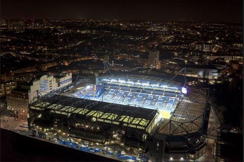 Drone aerial shot of chelsea soccer stadium batcam