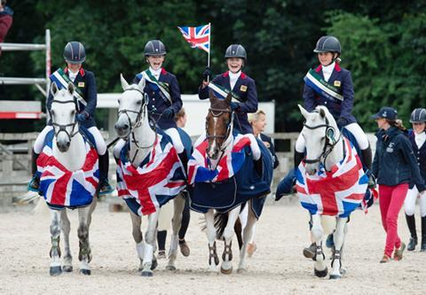 British eventing team celebrate gold: FEI Pony Championships 2018